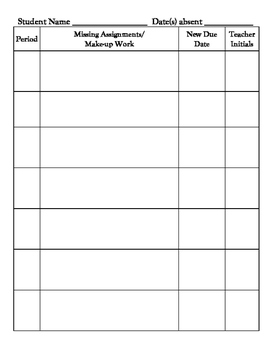 Make up Work or Missing Work Form