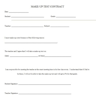 Make up test contract