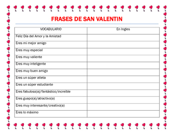 Valentine S Day Spanish Adjectives Friendship Phrases Make