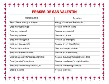 valentine 39 s day spanish adjectives friendship phrases make valentine cards. Black Bedroom Furniture Sets. Home Design Ideas