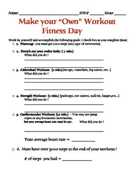 Physical Education - Make your own Fitness Day
