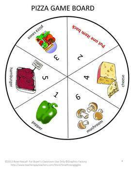 Build a Pizza Game, Roll the Dice Board Game Pre K Kindergarten Counting Numbers