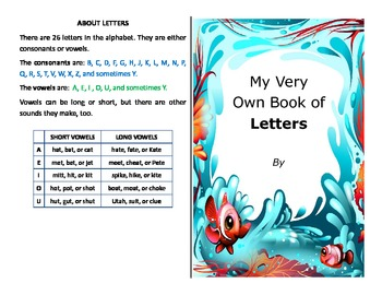 Make your own alphabet booklet with vowels and consonants - literacy activity