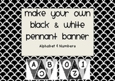 Make your own black and white pennant banners