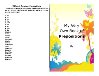 Make your own booklet on the 25 most common prepositions - literacy activity