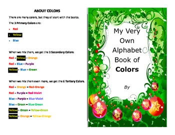Make your own booklet on the ABC's of colors over 100 colo