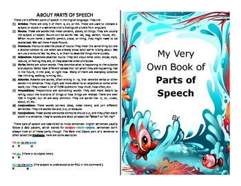 Make your own booklet on the parts of speech - literacy activity
