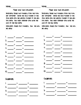 Make your own equations Worksheet
