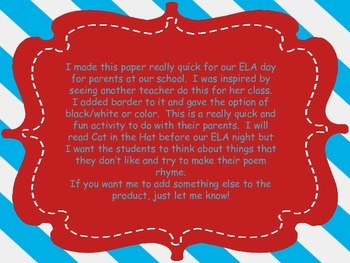 Make your own poem/ELA activity