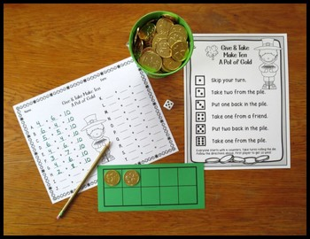 Make 10 Addition Fact Strategy Game For St. Patrick's Day