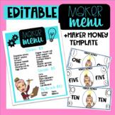 Maker Menu/ Maker Money Classroom Economy System EDITABLE