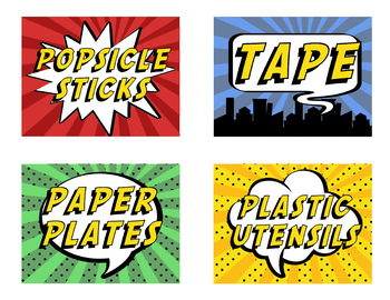 Maker Space Labels - Super Hero Theme
