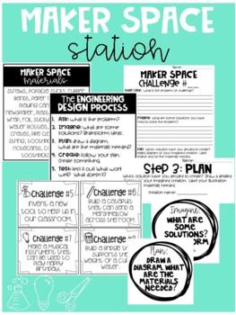 STEM Maker Space Task Cards & Bulletin Board