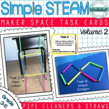 Maker Space Task Cards (Pipe Cleaners & Straws)