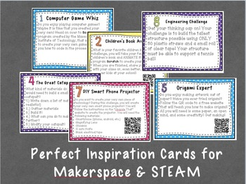 Maker Space and STEAM Inspiration Task Cards