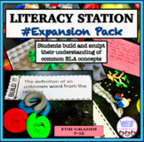 Literacy stations, fiction analysis, hands-on, task cards, creative thinking