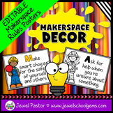 MakerSpace Decor (EDITABLE MakerSpace Rules Posters)