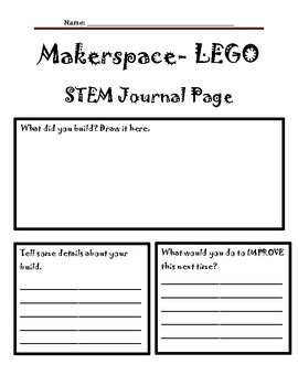 Makerspace LEGO Stem Journal Page