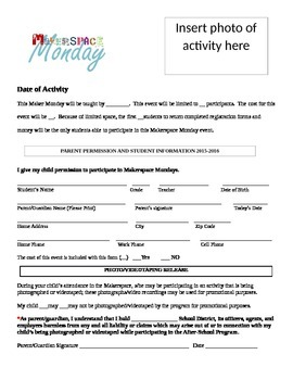 Makerspace Monday Permission Form