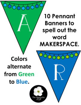 Makerspace Pennant Banner in BLUE/GREEN