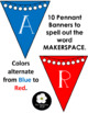 Makerspace Pennant Banner in RED/BLUE