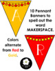 Makerspace Pennant Banner in RED/GOLD