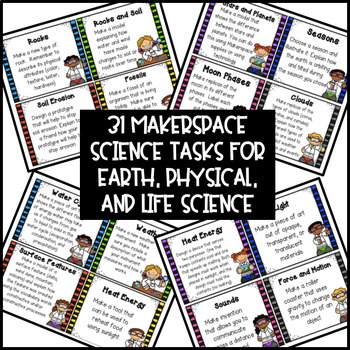 Makerspace Science STEM Challenge Task Cards 3rd-5th Grade