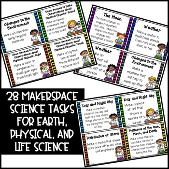 Makerspace Science STEM Challenge Task Cards Kindergarten-2nd Grade