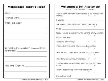 Makerspace Self Assessment and Daily Report Log