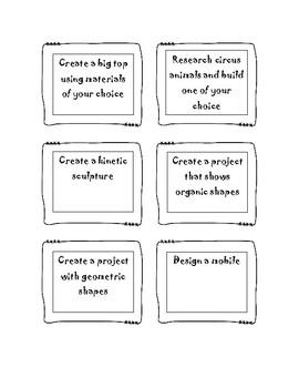 Makerspace Task Cards for Alexander Calder Art Study