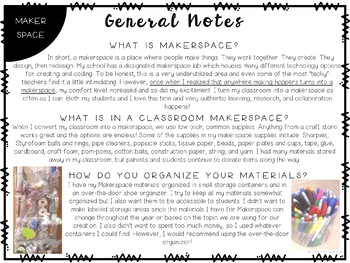 Makerspace in the Classroom Freebie