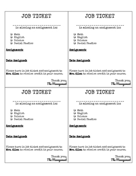 Makeup Assignments - Job Tickets