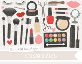 Makeup Clipart; Cosmetics, Lipstick, Eye Shadow, Nail Polish, Mascara, Brush
