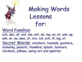 Making Words Lessons and Word Sorts