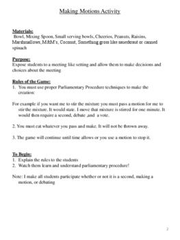 Makin' Motions Activity: Fun and Interactive Parliamentary Procedure Activity