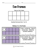 Making 1 to 5 in a Ten Frame