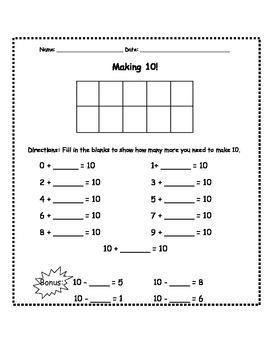 making 10 assessment worksheet by the dhh teacher tpt. Black Bedroom Furniture Sets. Home Design Ideas