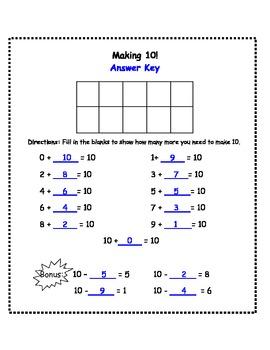 Making 10 Assessment Worksheet