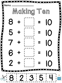 Making 10 Worksheets (15 Make a 10 Cut Sort Paste Practice Sheets)