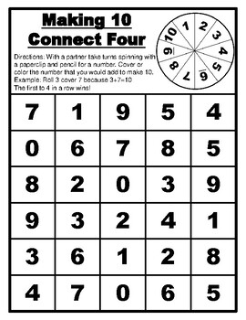 Making 10 Game Connect Four Math Making 10 Centers Making 10 Activity