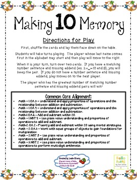 Making 10 Memory Game - Aligned to Common Core Standards