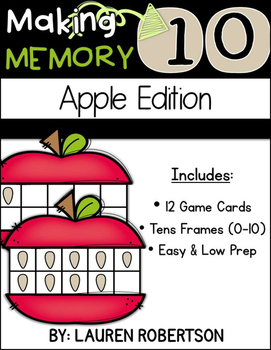 Making 10 Memory Math Center- Apple Edition