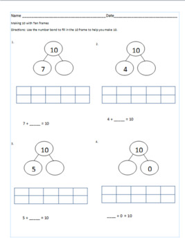 Making 10 Packet - 10 Pages of Scaffolded Worksheets/Activities