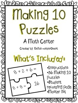 Making 10 Puzzles {An Addition Strategy Math Center}