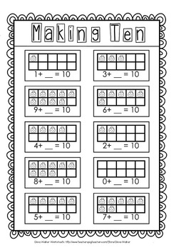 Making Ten ( Make 10) - Includes Tens Frames / Number Lines / Cut ...