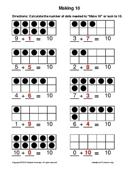Making 10 - Using DOTS - Pictorial Model - FREE