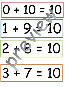 Making 10: adding 2 numbers to make 10 flashcards