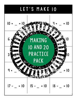 Making 10 and 20 Practice Pack -- The Almost Free Files
