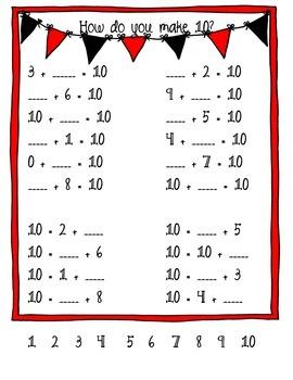 Making 10 - facts, missing number, categorize, number bonds
