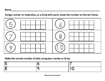 Making 10 on a Frame and Matching Game 6 to 10, Go Math, Ch 3